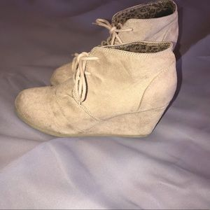 Tan colored low booties